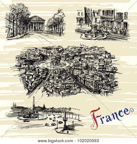 France - Paris, Nice - hand drawn collection