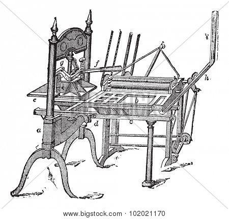 Washington hand press, vintage engraving. Old engraved illustration of Washington hand press isolated on a white background.  Trousset encyclopedia (1886 - 1891).