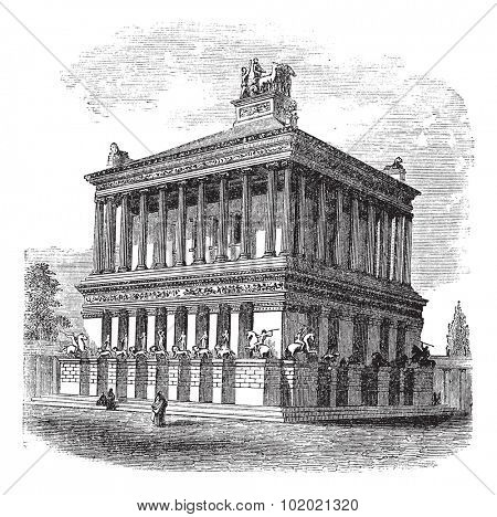 Mausoleum at Halicarnassus or Tomb of Mausolus vintage engraving. Old engraved illustration of Mausoleum at Halicarnassus during 1890s. Trousset encyclopedia (1886 - 1891).