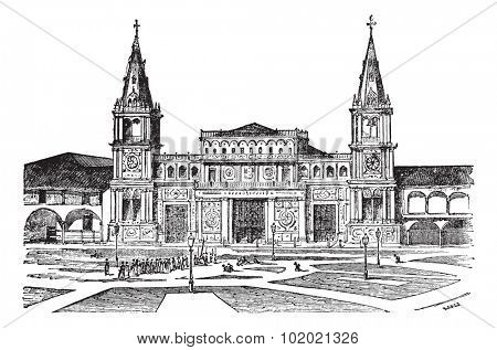 Cathedral of Guayaquil or Cathedral of Saint Peter[, Ecuador. Old engraved illustration of Cathedral of Guayaquil,1800s. Trousset encyclopedia (1886 - 1891).