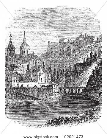 Namur in Wallonia, Belgium, vintage engraved illustration. Trousset encyclopedia (1886 - 1891).