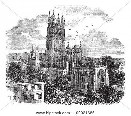 Gloucester Cathedral or the Cathedral Church of St Peter and the Holy and Indivisible Trinity in Gloucester, England , during the 1890s, vintage engraving. Trousset encyclopedia (1886 - 1891).