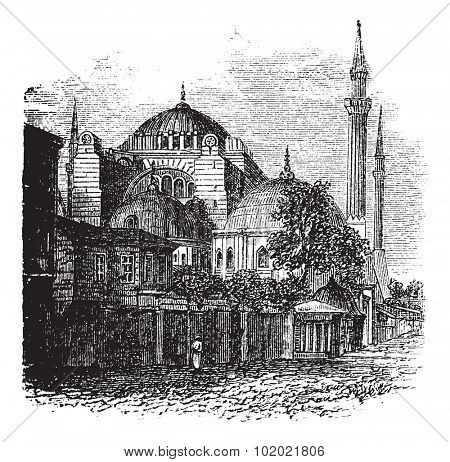 Hagia Sophia in Istanbul, Turkey, during the 1890s, vintage engraving. Old engraved illustration of the Hagia Sophia. Trousset encyclopedia (1886 - 1891).