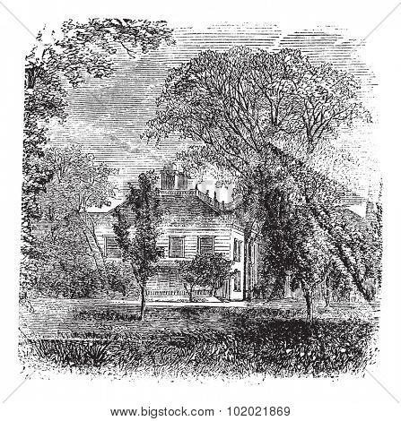 Longfellow House, Massachusetts, Cambridge , old engraved illustration of Longfellow  House, Massachusetts,  Cambridge , America, 1890s. Trousset encyclopedia (1886 - 1891).