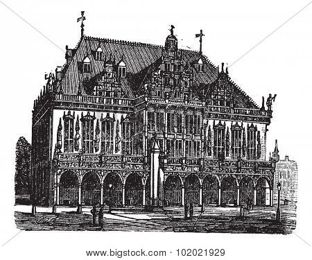 Council house also known as council estate, Bremen, Germany, old engraved illustration of Council house, Bremen, Germany, 1890s.  Trousset encyclopedia (1886 - 1891).