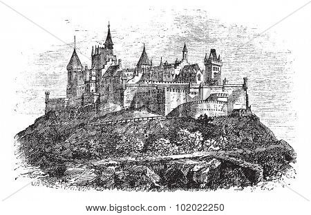 Hohenzollern Castle or Burg Hohenzollern in Stuttgart, Germany, during the 1890s, vintage engraving. Old engraved illustration of Hohenzollern Castle. Trousset encyclopedia (1886 - 1891).