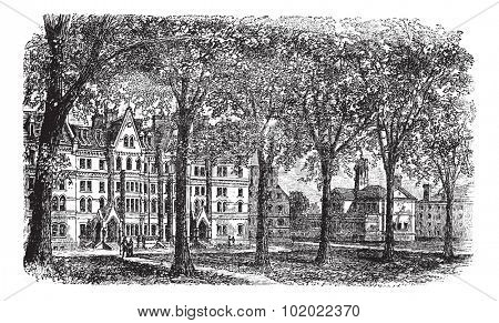 Harvard University, Cambridge, Massachussets vintage engraving. Old engraved illustration of Harvard University campus, during 1890s. Trousset encyclopedia (1886 - 1891).