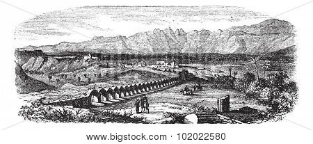 The Ruins of Laodicea, Turkey vintage engraving. Old engraved illustration of Ruins of a colonnaded street in Laodicea, Turkey, 1800s. Trousset encyclopedia (1886 - 1891).