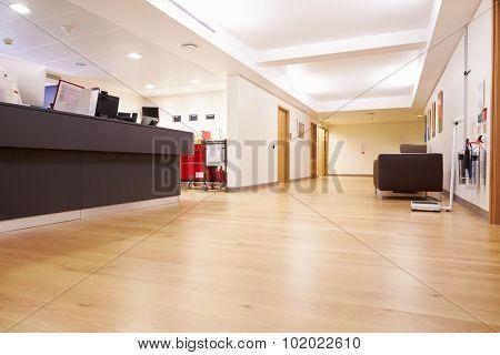 Empty Nurse's Station In Modern Hospital