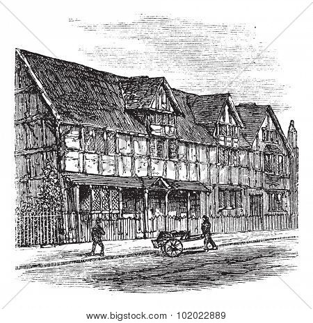 Shakespeare's Birthplace at Stratford-upon-Avon, vintage illustration. A view of the house that William Shakespeare was born in, Stratford-Upon-Avon, United Kingdom. Trousset encyclopedia 1886 - 1891