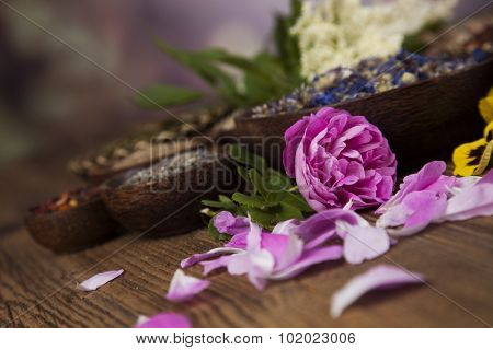 Natural medicine, wooden table background