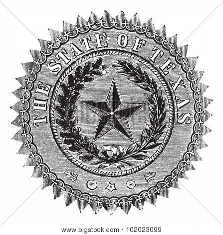 Seal of the State of Texas, vintage engraved illustration. Seal of the State of Texas isolated on white. Trousset encyclopedia (1886 - 1891).