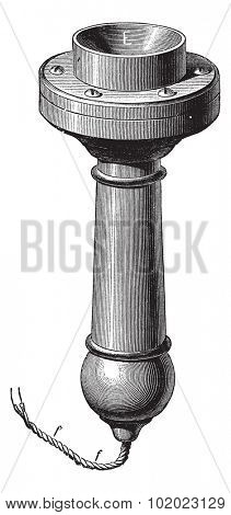 Perspective of the new telephone Magnetic Bell, vintage engraved illustration. Trousset encyclopedia (1886 - 1891).