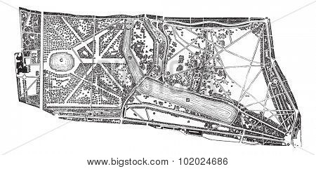 Hyde Park and Kensington Gardens, environs, during the 1890s, vintage engraving. Old engraved illustration of map of the Hyde Park and Kensington Gardens in London. Trousset encyclopedia (1886 - 1891)