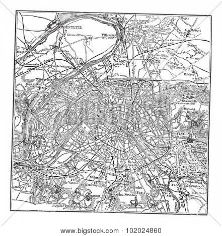 Paris and its environs, during the 1890s, vintage engraving.  Old engraved illustration of Paris map with its environs. Trousset encyclopedia (1886 - 1891).