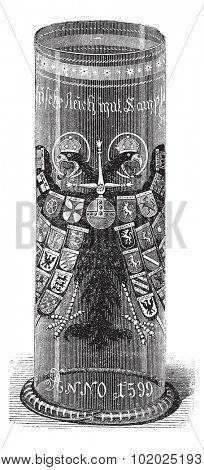Bohemian Drinking Glass, vintage engraved illustration. Trousset encyclopedia (1886 - 1891).