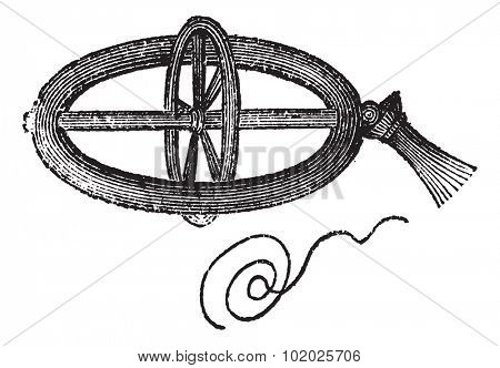 Armillary Top, spun by pulling a string, vintage engraved illustration. Trousset encyclopedia (1886 - 1891).