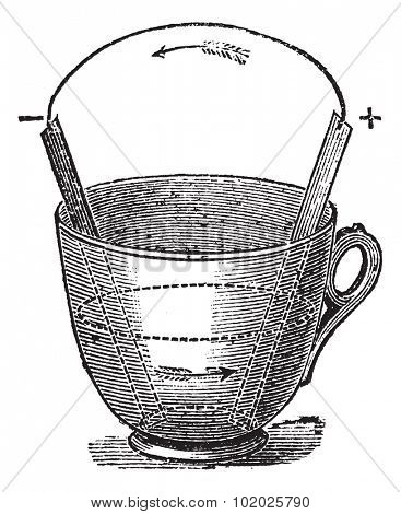 Simple Voltaic Pile, vintage engraved illustration. Trousset encyclopedia (1886 - 1891).