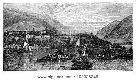 West Point Island or Albatross Island, during the 1890s, vintage engraving. Old engraved illustration of West Point Island with moving ships in front. Trousset encyclopedia (1886 - 1891).