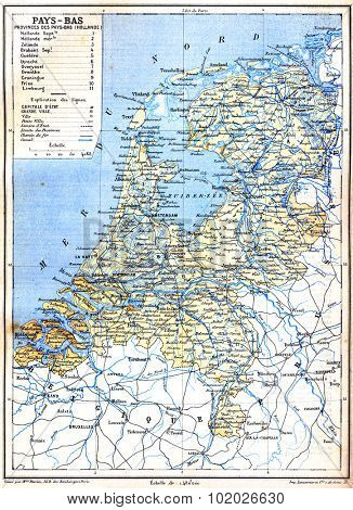 The map of Netherlands with explanation of signs on map. Old vintage map from the late 19th century, Trousset encyclopedia (1886 - 1891).