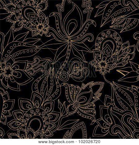 Seamless Gold Paisley Pattern.orient Design. Vector Illustration