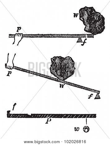 Experiment of force and lever, vintage engraved illustration. Trousset encyclopedia (1886 - 1891).
