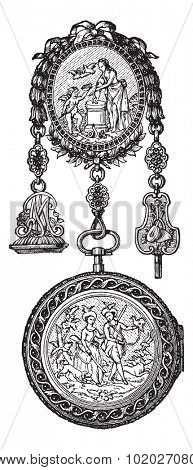 Old engraved illustration of Chatelaine watch of the eighteenth century isolated on a white background. Industrial encyclopedia E.-O. Lami - 1875.
