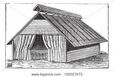 Old engraved illustration of the structure of Barrack tent (type 2) of the army. Industrial encyclopedia E.-O. Lami - 1875.