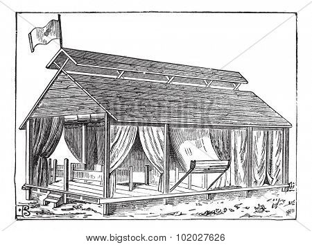 Old engraved illustration of the structure of Barrack tent (type 1) of the army. Industrial encyclopedia E.-O. Lami - 1875.