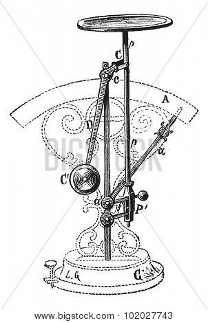 Old engraved illustration of Letter scale isolated on a white background. Industrial encyclopedia E.-O. Lami - 1875.