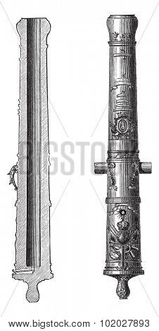 Old engraved illustration of Canon 24 (artillery) of Louis XIV isolated on a white background. Industrial encyclopedia E.-O. Lami - 1875.
