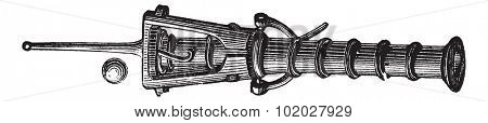 Old engraved illustration of Canon box of the fourteenth century. Industrial encyclopedia E.-O. Lami - 1875.