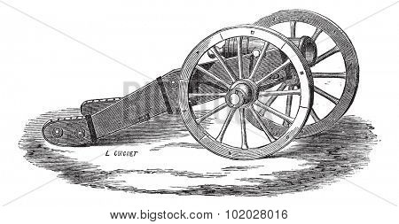 Old engraved illustration of Mounting of howitzer (Valliere system). Industrial encyclopedia E.-O. Lami - 1875.