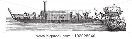 Old engraved illustration of steam tug boat with passengers. Industrial encyclopedia E.-O. Lami - 1875.