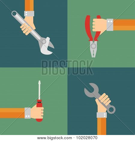 Tools vector, flat design style