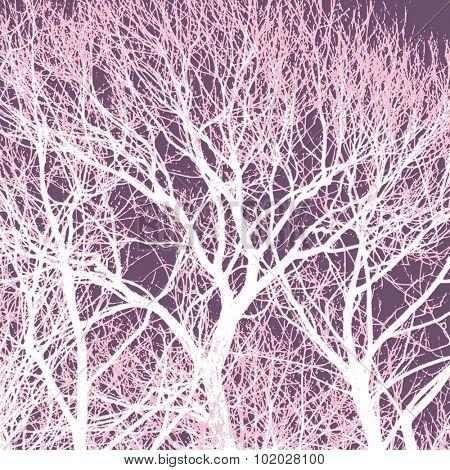 Tree silhouette, vector landscape