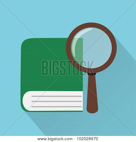 Flat design vector illustration,book and magnifier