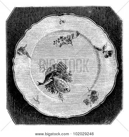 Plate of Marseille, vintage engraved illustration. Magasin Pittoresque 1875.