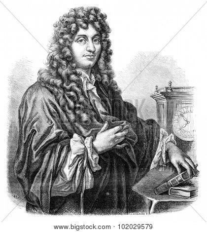 Huygens. - Drawing of Edward Garnier. of Edelinck after, vintage engraved illustration. Magasin Pittoresque 1875.
