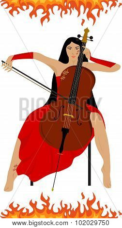 Girl and cello fire