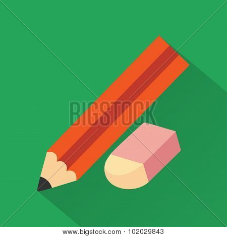 Pencil and eraser,modern flat icon with long shadow