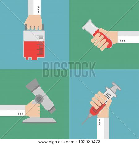 Set  Modern Medical flat background with hand
