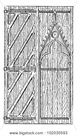 Door of Sainte-Chapelle of Paris (Saint Chapel) with interior and exterior casements on a white background which belongs to eighteenth century Dictionary of words and things - Larive and Fleury - 1895
