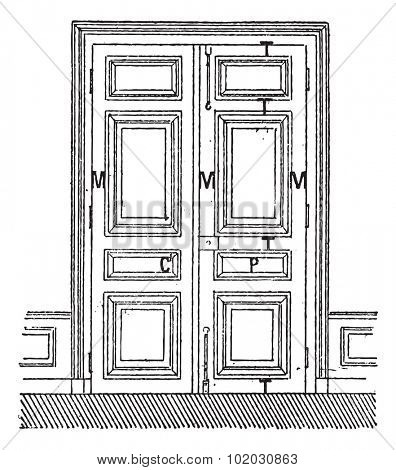 Door with two leaves C, Door, C, frame, M, Amount, P, billboards, T-rails,  vintage engraved illustration. Dictionary of words and things - Larive and Fleury - 1895.