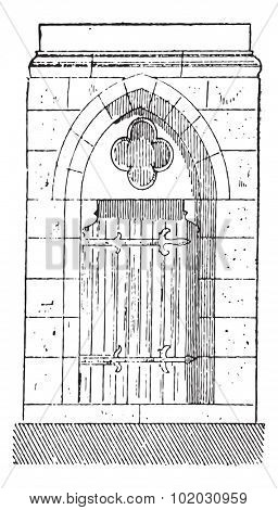 Old engraved illustration of the gate of Cathedral of Our Lady of Chartres, belongs to eighteenth century. Chartres, France. Dictionary of words and things - Larive and Fleury - 1895