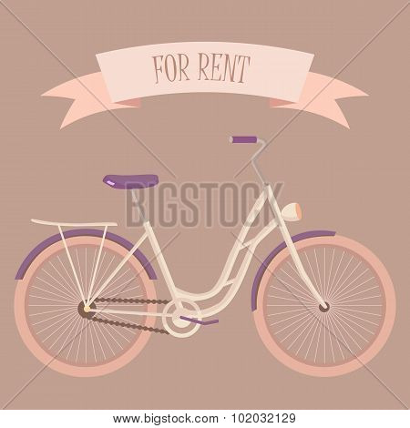 Retro woman bicycle for rent