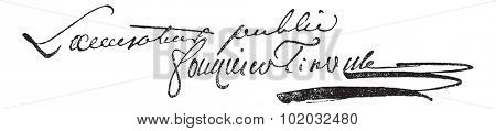 Signature of Antoine Quentin Fouquier de Tinville (1747-1795), vintage engraved illustration. Dictionary of words and things - Larive and Fleury - 1895.