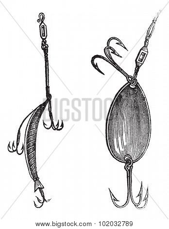 Fishing Lures, Plug,  Spoon, vintage engraved illustration. Magasin Pittoresque 1874.