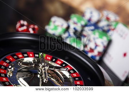 Roulette in casino and Poker Chips