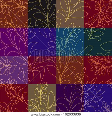 Seamless Patchwork Pattern With Gold Leaves